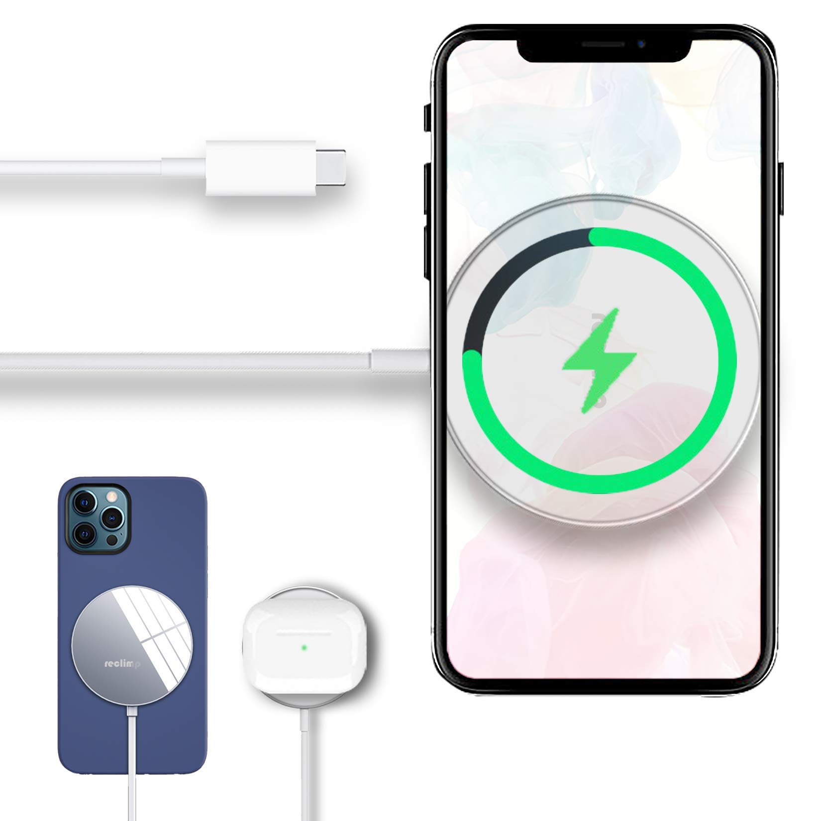 Reclimp 15W Magnetic Wireless Charger Compatible with iPhone 12/12Mini/12 Pro/12 Pro Max, Auto-Attraction Fast Wireless Charging Pad for iPhone 12/12 Mini/12 Pro/12 Pro Max (Compatible for Mag-Safe)