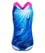 BELLOO Girls Kids One Piece Swimsuit Racer Back Swimwear Bathing Suit