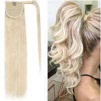 Ponytail Human Hair Extensions Real Hair Wrap Around Ponytail Hairpieces Remy Hair Clip in Pony Tails One Piece Ponytail Hair Piece with Magic Paste For Women 16inch 80g #60 Platinum Blonde