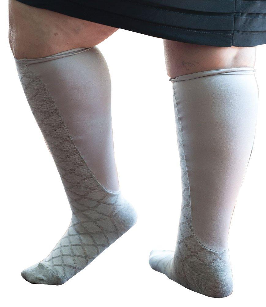 Xpandasox Women's Plus Size/Wide Calf Cotton Blend Diamond Knee High Socks