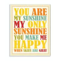 The Kids Room by Stupell You Re My Sunshine Rainbow Colors Typography Rectangle Wall Plaque, 11 x 0.5 x 15, Proudly Made in USA