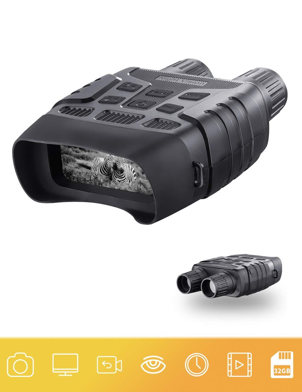 "Digital Night Vision Binoculars 7x31mm 2.31"" TFT LCD Screen with 32GB TF Card Infrared IR Camera Photos Videos Recorder in Full Dark"