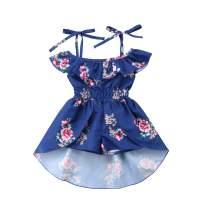 Ma.Lina.Ann Kids Baby Girls Summer Sling Floral Dress Elegant Princess Ruffles Irregular Culotte Dresses (3-4 Years, Blue)