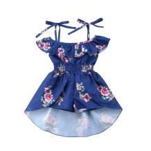 Ma.Lina.Ann Kids Baby Girls Summer Sling Floral Dress Elegant Princess Ruffles Irregular Culotte Dresses