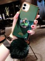 iPhone 11 Pro Cute Cover with Bling Stand,Lozeguyc iPhone 11 Pro Crystal TPU Case with Furry Ball iPhone 11 Pro 5.8 Inch Slim Pretty Fashion Shockproof Case for Girl Women-Green Stand