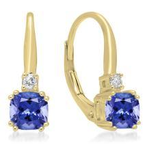 Dazzlingrock Collection Each 5 MM Cushion Gemstone & Round White Diamond Ladies Dangling Drop Earrings, 14K Gold