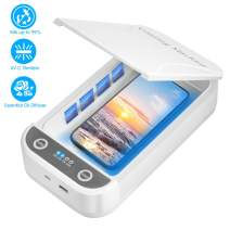 UV Cell Phone Sanitizer, Smart Phone Sanitizer, Portable Box Cleaner Aromatherapy Function Disinfector Phone Cleaner Box for All iPhone Android Mobile Phone Keys Toothbrush Salon Tools Watches (White)