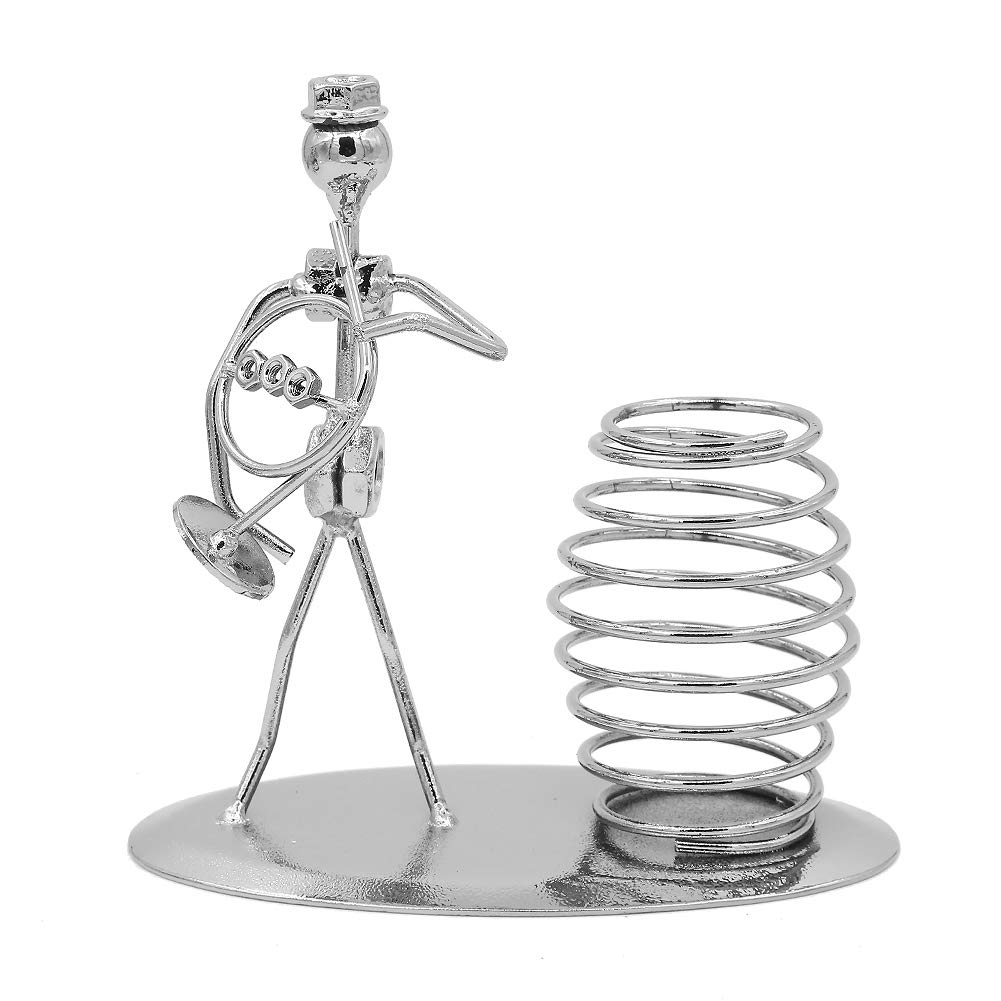 Music Musician Theme Iron Hat Man Art Steel Metal Creative Personality Pen Holder Pencil Holder Cup Pot Office Students Desktop Music Decoration Decor Toy Gift Ornaments (A0719 French Horn)