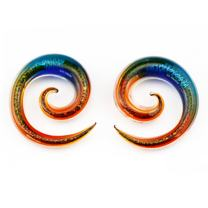 BodyJ4You 2PC Glass Ear Tapers Plugs 4G-12mm Dichroic Glitter Gauges Piercing Jewelry Set