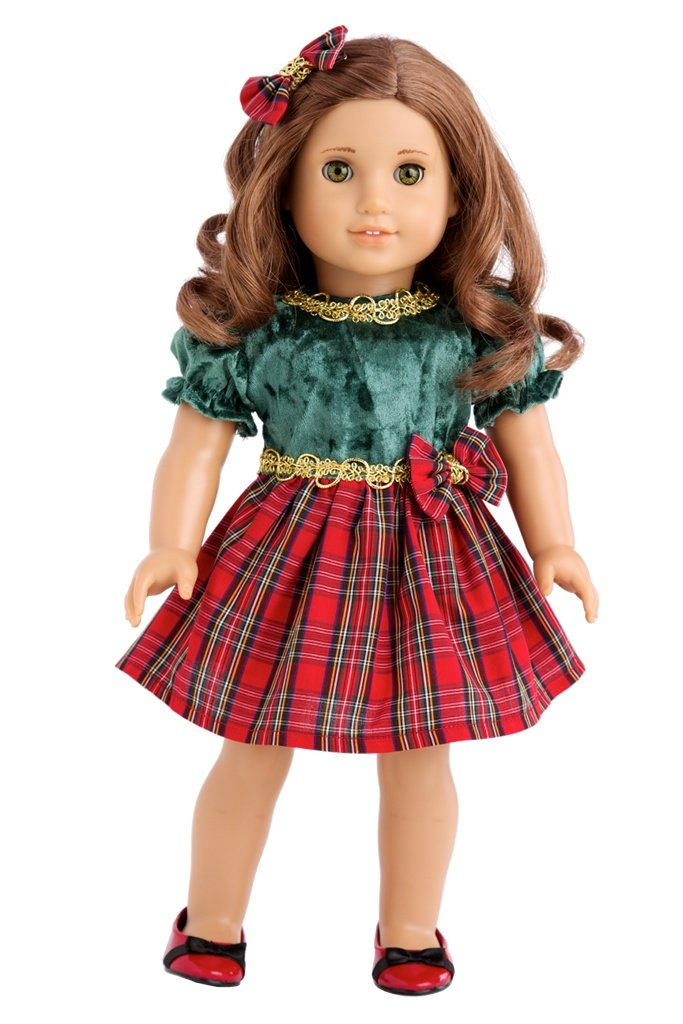 DreamWorld Collections - Christmas Classic - 3 Piece Outfit - Green and Red Party Dress, Red Shoes and Hair Bow - Clothes Fits18 Inch American Girl Doll (Doll Not Included)