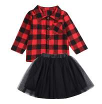 Baby Girl Skirt Set Long Sleeve Plaid Shirt Top+White/Black Tutu Dress Winter Outfits Christmas Clothes