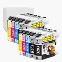 Bigger Compatible Ink Cartridge Replacement for Brother LC 203 XL to use with MFC-J4320DW MFC-J4420DW MFC-J4620DW MFC-J5520DW MFC-J5620DW MFC-J5720DW (4 Black, 2 Cyan, 2 Magenta, 2 Yellow, 10-Pack)