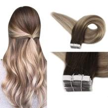 """Full Shine 18"""" Real Hair Tape in Extensions Color #3 Fading to #8 Highlighted #22 Medium Blonde 20 Pieces Per Pack Balayage Seamless Tape Hair Extensions Remy Human Hair 50 Grams Per Pack"""