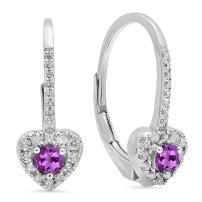 Dazzlingrock Collection 10K 3 MM Each Round Gemstone & Diamond Ladies Heart Shape Drop Earrings, White Gold