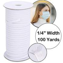 100 Yards Elastic Bands for Sewing Braids,1/4 Inch Width Elastic String for Masks Earloop,White Mask Flat Elastic Rope/Bungee/Heavy Stretch Knit Elastic Band for Sewing/Wigs/Hair/DIY/Crafts/Bedspread