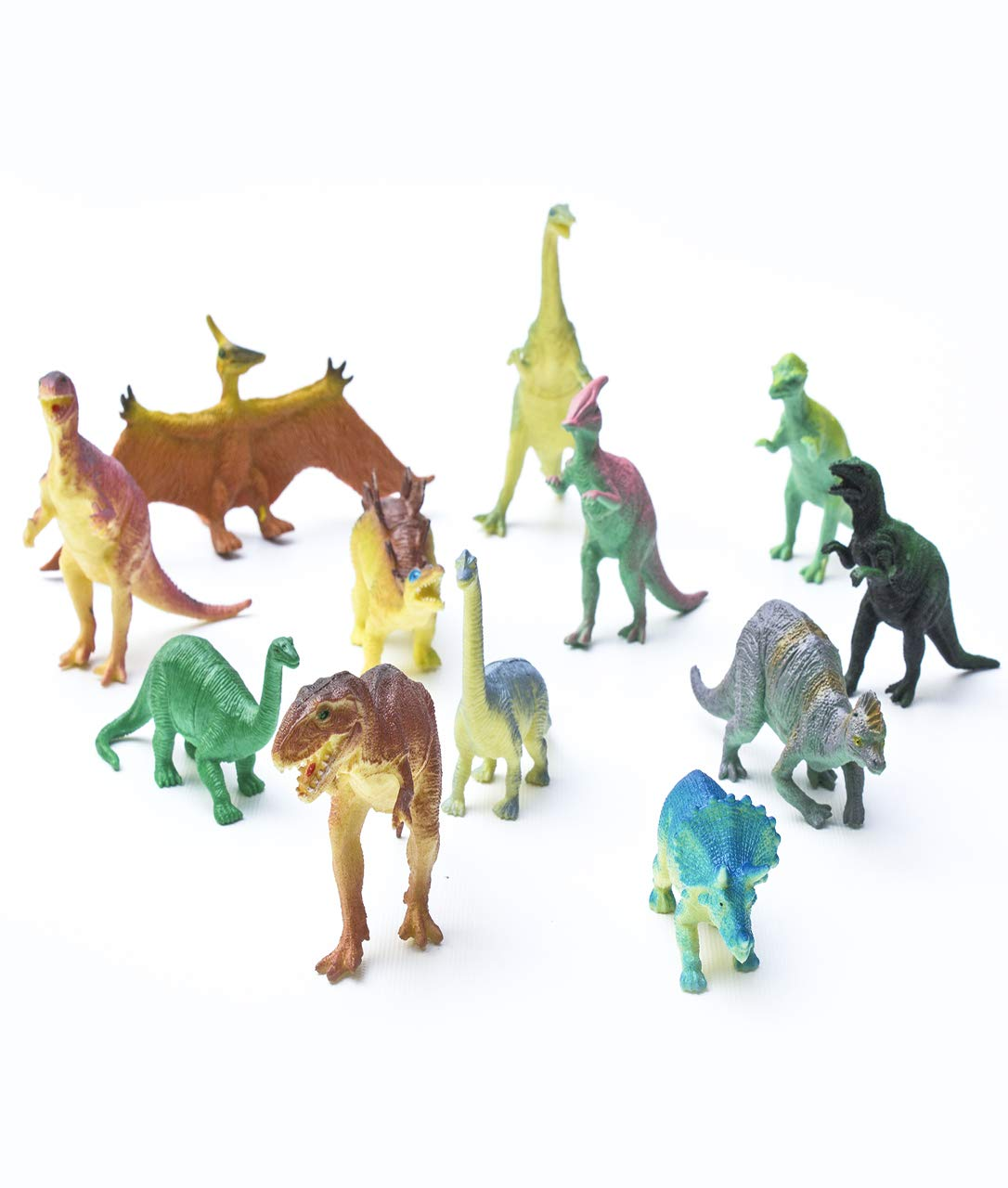 Fun Central 12 Pieces - Jumbo Plastic Dinosaur Figures in Bulk Party Favors for Kids and Toddlers - Assorted Designs