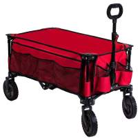 Timber Ridge Camping Wagon Folding Garden Cart Shopping Trolley Collapsible Heavy Duty Utility Use with Side Bag and Storage Bag, Red-side bag