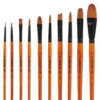 Artist Brushes Set of 10 pcs - 4 Different Shapes Art Paint Brush Set for Acrylic, Watercolor, Oil Painting and Adult Face Painting