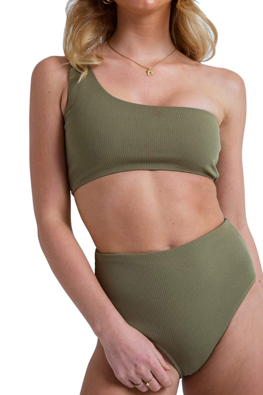 Elosele Women's One Shoulder Bikini Sets High Waist Two Piece Swimsuit