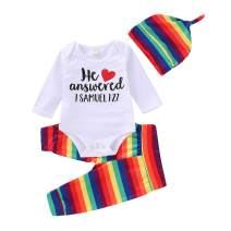 Infant Toodler Baby Boy Girls Clothing Sets Long Sleeve Letter Romper Rainbow Striped Pants Hat Autumn Outfits