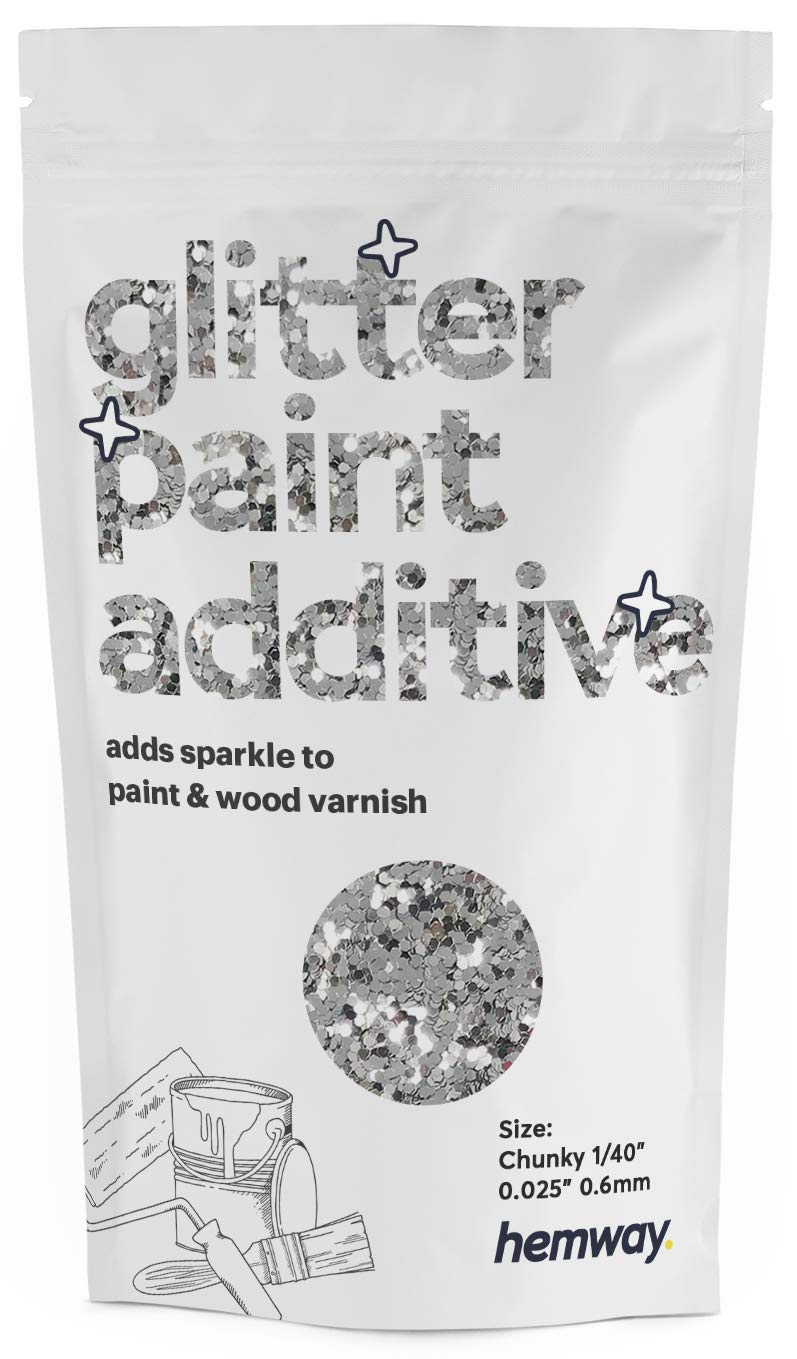 """Hemway Glitter Paint Additive Chunky 1/40"""" 0.6mm Emulsion/Acrylic Water Based Paints Wall Ceiling 100g / 3.5oz (Silver)"""