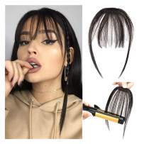Clip in Bangs 100% Real Human Hair Front Neat Air Fringe One Piece Clip in Fringe Hair Extensions with Temples for Women (Dark Black)