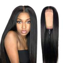 ISEE Hair Brazilian Straight Virgin Human Hair Lace Front Wigs Glueless Straight Wigs Pre Plucked with Baby Hair Natural Hairline for Black Women Natural Color 12 Inch