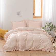 """Simple&Opulence 100% Cotton Duvet Cover King(104""""x 92"""")- 3 Pieces(1 Comforter Cover, 2 Frilled Pillowcases)- Rose Pink- Light Weight Bedding Set with Ruffled"""