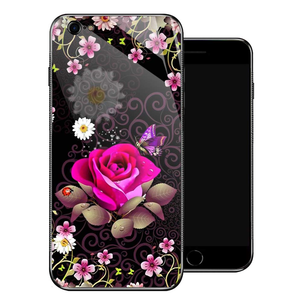 iPhone 6 Case,Pink Rose Purple Butterfly iPhone 6s Cases for Girls,Non-Slip Pattern Design Back Cover[Shock Absorption] Soft TPU Bumper Frame Support Case for iPhone 6/6s 4.7-inch Flower