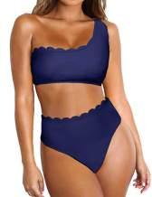Ekouaer Women's Bikini Set Solid Wavy Edge One Shoulder Bathing Suits Rain of Petals Swimsuits S-XXL