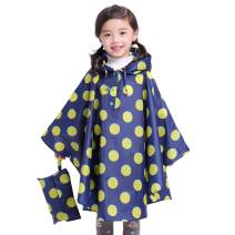 Spmor Kids Lightweight Rain Poncho Hooded Packable Jacket Outdoor Rain Coat