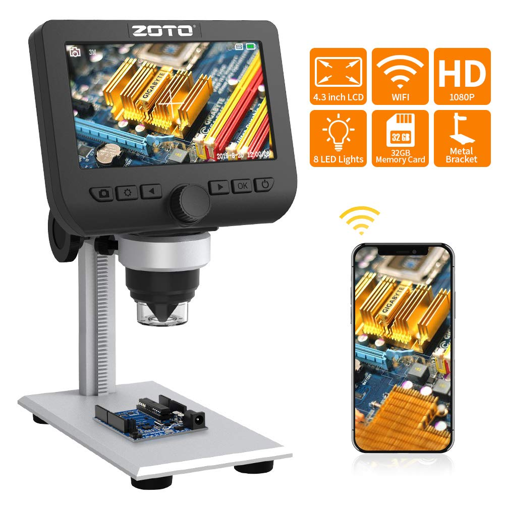 Digital Microscope, ZOTO 4.3inch 1080P Full HD LCD WiFi Microscope Camera 1000X Magnification Build in Rechargeable Battery 32GB USB Microscope for Kids, Students, Lab,Edu.Support IOS Android Phone,PC