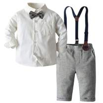 SANGTREE Baby Boys Clothes, Dress Shirt with Bowtie + Suspender Pants, 6 Months - 6 Years