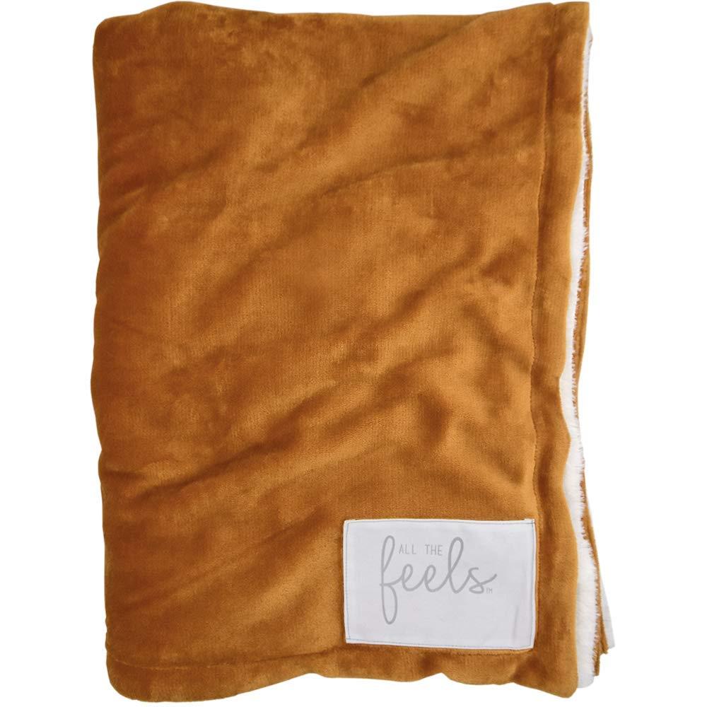 All the Feels Premium Reversible Blanket, Throw, 50x60, Honey Ginger Throw Blanket, Super Soft Cozy Blanket