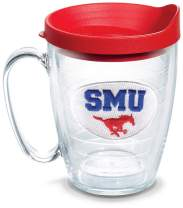 Tervis 1056783 SMU Mustangs Logo Tumbler with Emblem and Red Lid 16oz Mug, Clear