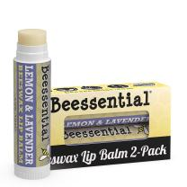 Beessential All Natural Lemon Lavender Lip Balm 2 pack - Voted Best for Dry and Chapped Lips – Great for Men, Women, and Children – Moisturizing Beeswax, Coconut, Shea and Cupuacu Butter