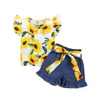 Toddler Baby Girl Shorts Set Sunflower Floral Ruffle Sleeve T-Shirt Top Shorts Summer Outfits 2Pcs Clothes