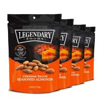 Legendary Foods Gourmet Flavored Almonds | Keto Diet Friendly, Low Carb, High Potassium, No Added Sugar, Good Protein & Fat | Cheddar Bacon (4oz, Pack of 4)