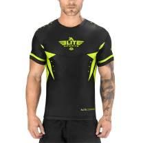Elite Sports BJJ MMA No-Gi Mens Rash Guard for Men, Best BJJ Raked Short Sleeve Rashguards