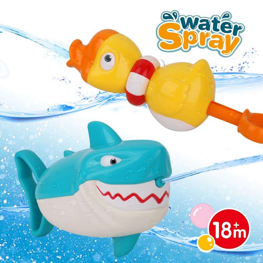 Dwi Dowellin Bath Toys Water Toys Shark Duck Shooter Blaster for Bath Time Bathtub Bathroom Pool Tub Toys for Toddlers Kids Child Boys Girls Age 2 3 4 5 6 7 8 Years Old