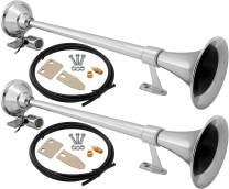 Vixen Horns Train Horn for Truck/Car. Air Horn Chrome Plated Dual Trumpet. Super Loud dB. Fits 12v/24v Vehicles Like Semi/Pickup/Jeep/RV/SUV VXH1164X2