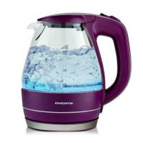 Ovente Electric Hot Water Portable Glass Kettle with Filter 1.5 Liter Stainless Steel Base Countertop Teapot & Auto Shutoff BPA-Free Fast Heating, Boil Dry Protection, Brew Coffee & Tea, Purple KG83P