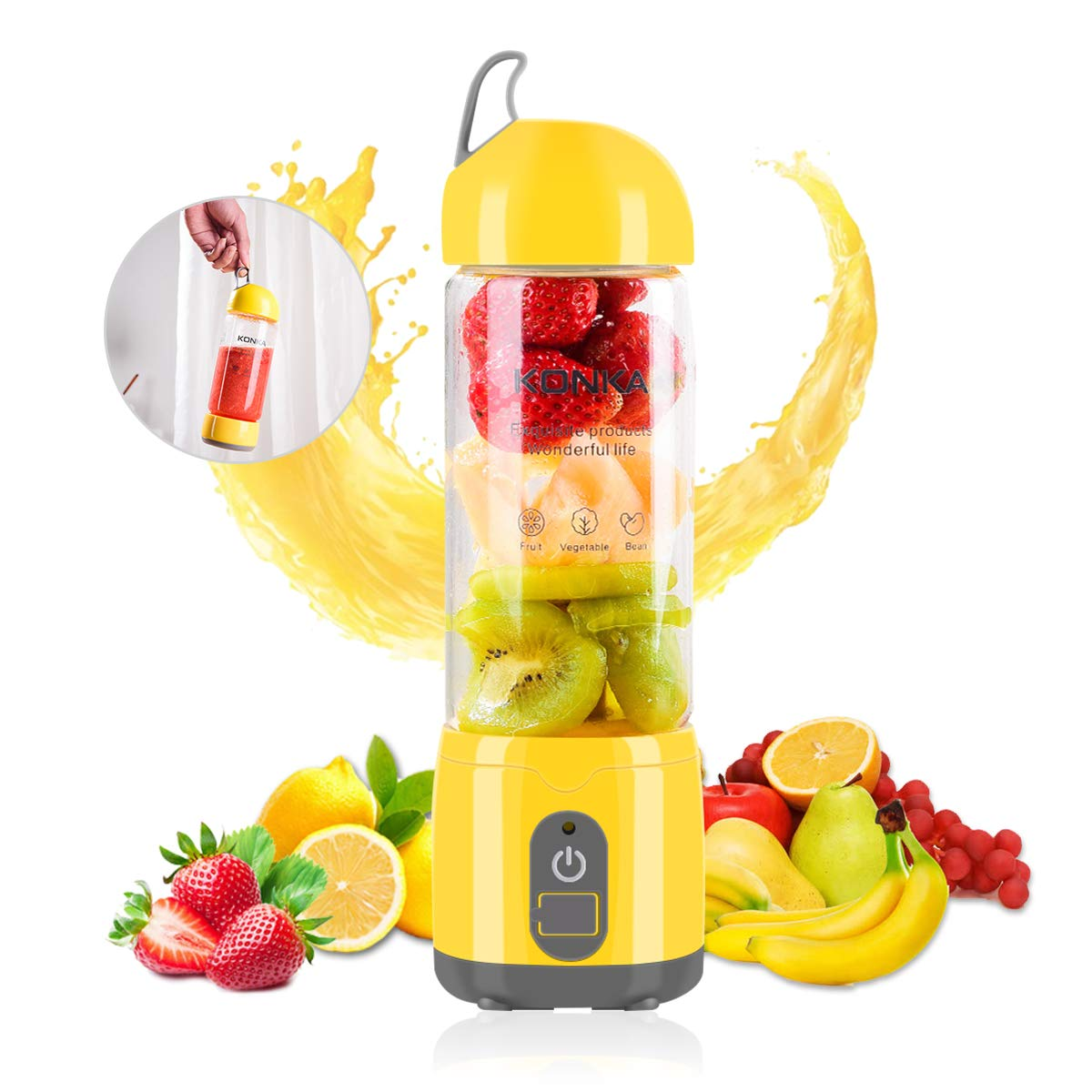 KONKA Personal Size Blenders,4000mAh Battery Mini Portable Blender,17oz(420ml) USB Rechargeable Juicer, Fruit Mixer Machine for Shakes and Smoothies ,Home/Office/Travel,Yellow