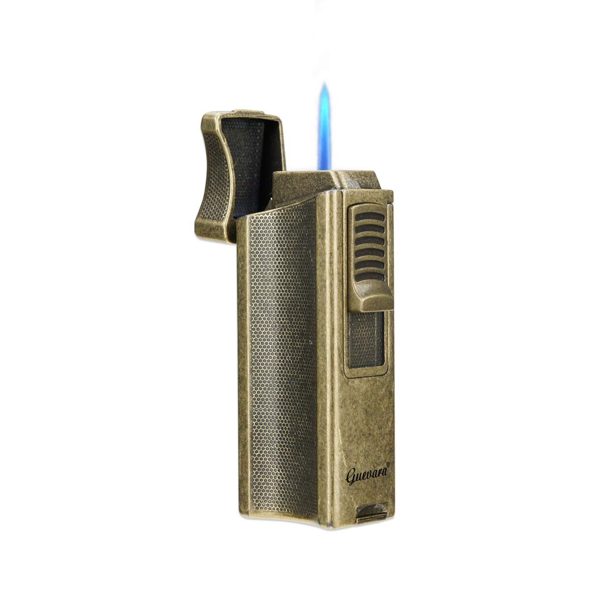 Cigar Lighters Single Torch High Quality Best Cigar Lighter with Stand Holder Windproof Butane Refillable Scorch(Without Gas) (Gold)