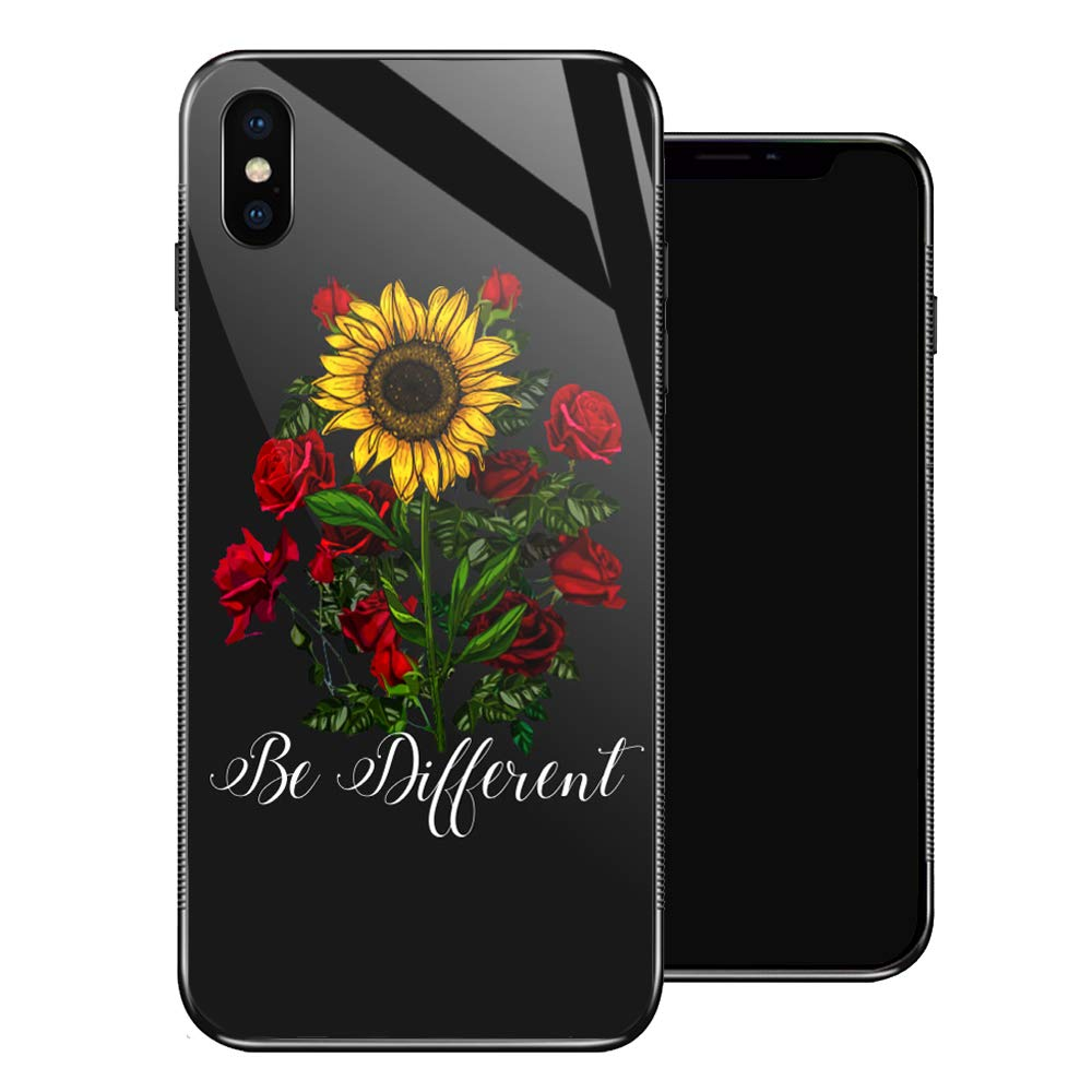 iPhone X Case,Sunflower Red Rose iPhone Xs Cases for Girls,Tempered Glass Pattern Design Back Cover [Shock Absorption] Soft TPU Bumper Frame Support Case for iPhone X/XS Flower Green Leaves