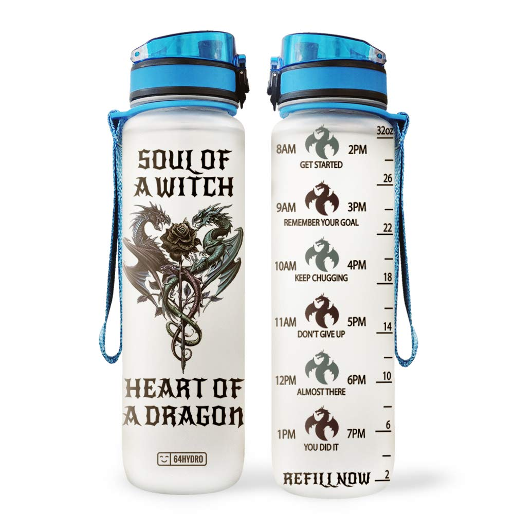 64HYDRO 32oz 1Liter Motivational Water Bottle with Time Marker, Inspiration Soul of A Witch Heart of A Dragon HLA0608005 Water Bottle