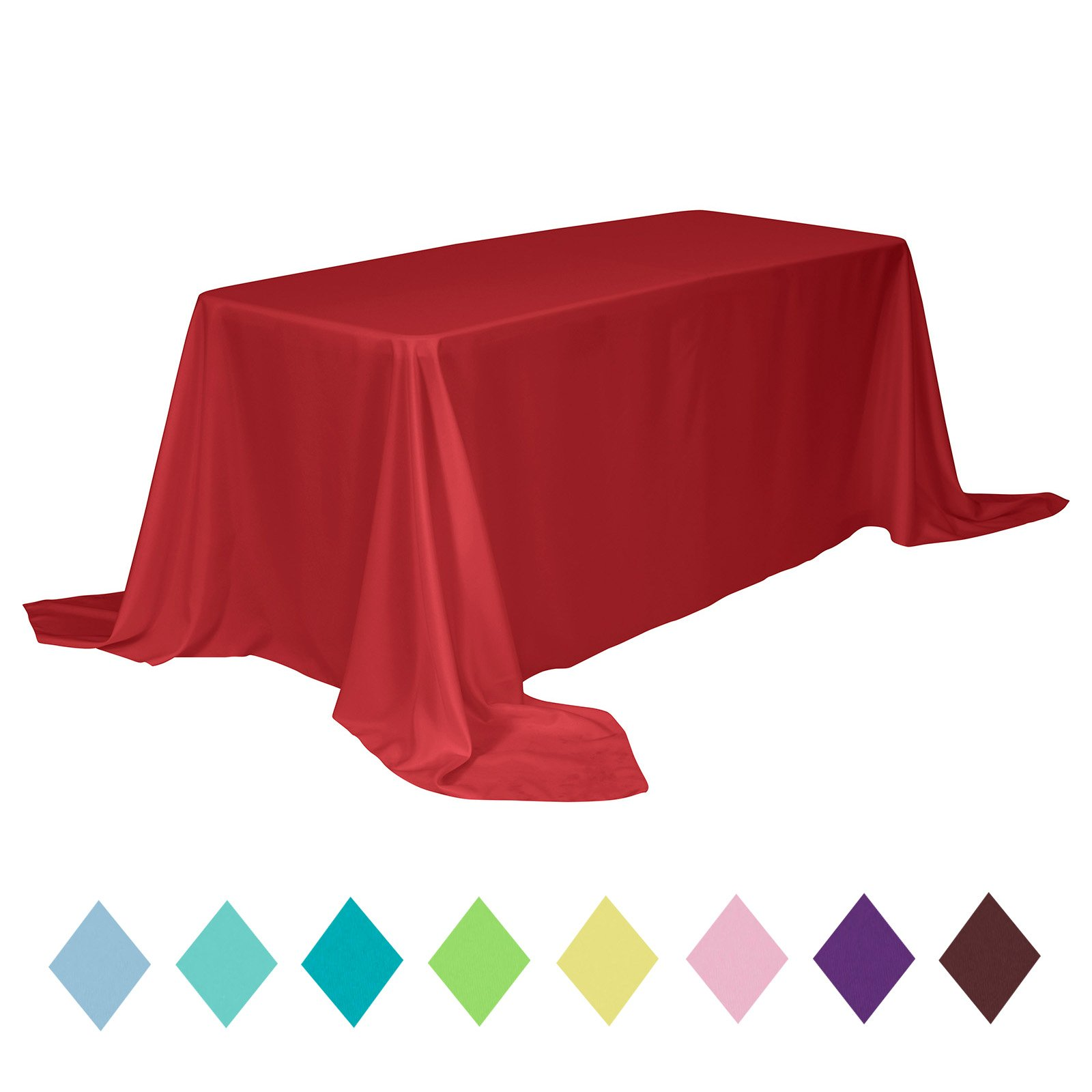 VEEYOO Rectangle Table Cloth Solid Color Polyester Tablecloth for Baby Shower Oblong Dinner Table Cover for Wedding Party Restaurant Outdoor Picnic (Red, 90x132 inch)