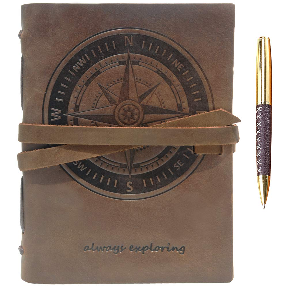 """Leather Journal Nautical Compass Notebook Embossed Maritime Sea Adventure A5 Travel Diary, For Men For Women, Genuine Vintage Rustic Leather 6"""" x 8"""", Bound For Writing Notes Handmade Sketchbook + Pen"""