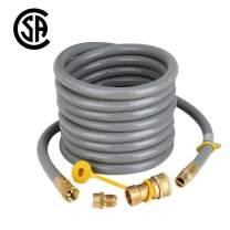 "Natural Gas Hose, 24 feet Gas Line with 1/2 inch Male Flare Quick Connect/Disconnect for BBQ Gas Grill- 50,000 BTU Fits Low Pressure Appliance with 3/8"" Female Flare Fitting to Male"