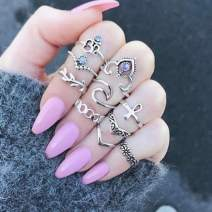 Nicute Boho Rhinestone Stackable Joint Knuckle Ring Vintage Silver Carving Finger Rings Set for Women and Girls(10 Pieces)